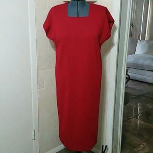 Leslie fay red chemise shift dress